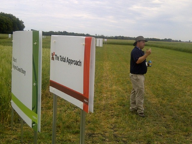 Scott VanDamme talks about Syngenta cereal seed varieties at the Elm River Research Farm in Manitoba.