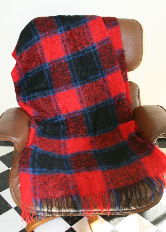 Vintage 1950's Mohair wool blanket throw or wrap scarf in red, black and navy The Glentana buffalo plaid Made in Scotland