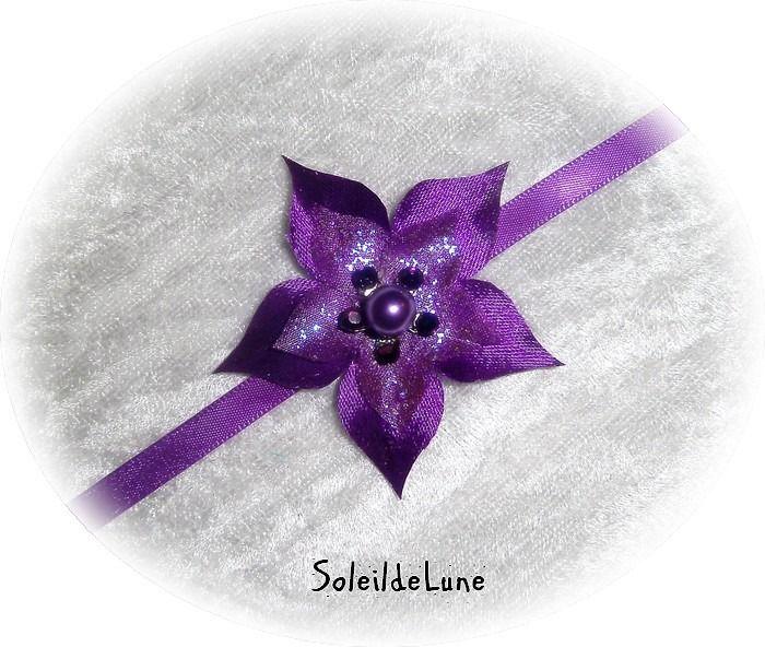 Collier Fleur violette Strass cristal ❀ Collier fleur ruban de satin Mariage communion : Collier par soleildelune-bijoux-mariage