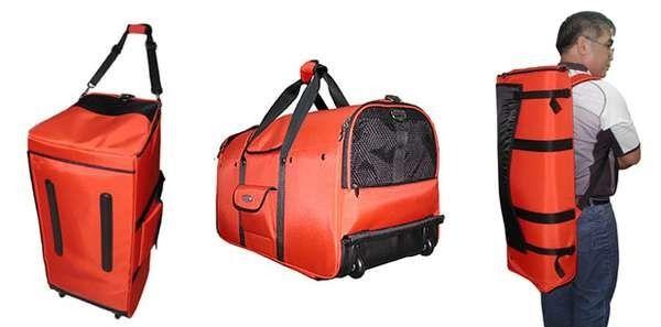 Рюкзак Backpack-o-Pet предназначен для транспортировки собак крупных пород. Эта огромная переноска способна выдержать до 22 кг мохнатого груза. Таким образом производитель решил проблему проезда с собаками в нью-йоркском метро. Сумку размером 76*35*40 см можно использовать двумя способами – нести в руках, как обычную переноску, или нагрузить плечи. Собачий рюкзак продается в интернет-магазинах зоотоваров за $ 595.