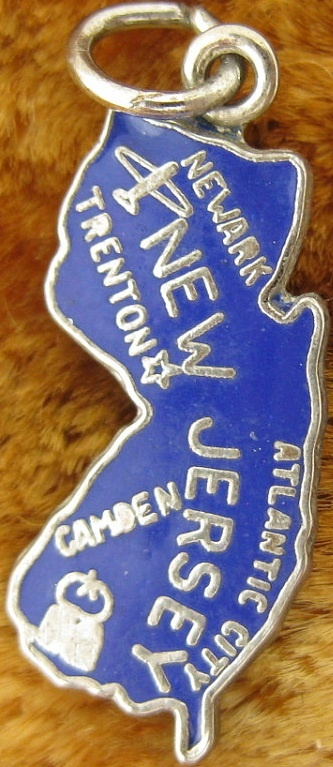 New Jersey + Newark + Trenton + Camden + Atlantic City [state map charm / pendant]