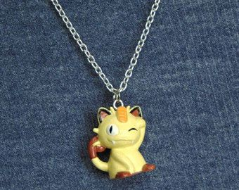 Vintage Meowth Pokemon Necklace