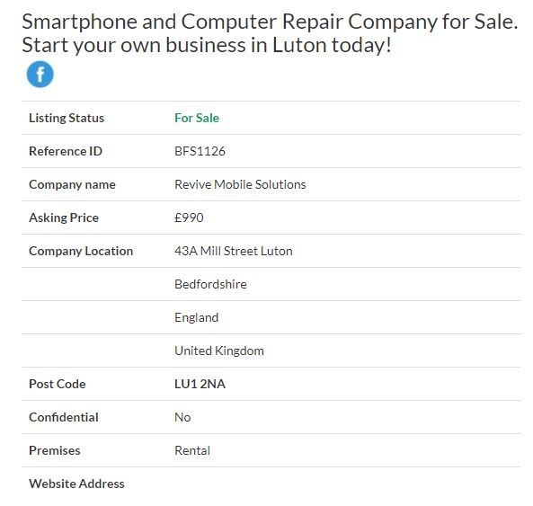Business for sale - Smartphone and Computer Repair Company for Sale.Start your own business in Luton   today! Ref. BFS1126 Location Bedfordshire,England Asking Price £990 #Ownersellers   #FreeOnlineBusinessTransferAgent #OnlineBusinesstransferagent #sellingyourbusinessonline  #Freebusinessvaluationonline #businessesforsaleonline #freeonlinebusinesstransferagency #Smartphone   #ComputerRepair #electronicrepairs #Bedfordshire