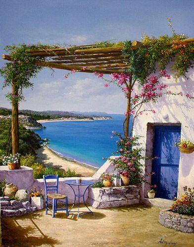 ART~ A Little Corner Overlooking The Beach~ Via Web De Picasa