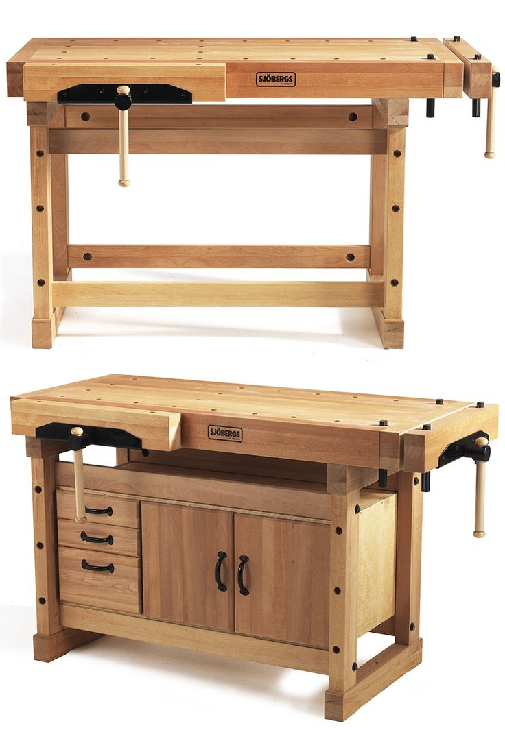 Beautiful old-school workbench. Swedish company Sjöbergs adds slightly-modernizing updates, like steel-cored, rubber-wrapped bench dogs (with half-round tops to accommodate angled workpieces), cork jaw protectors for the vise's clamping surface, and precision steel hardware for the vise's guts.