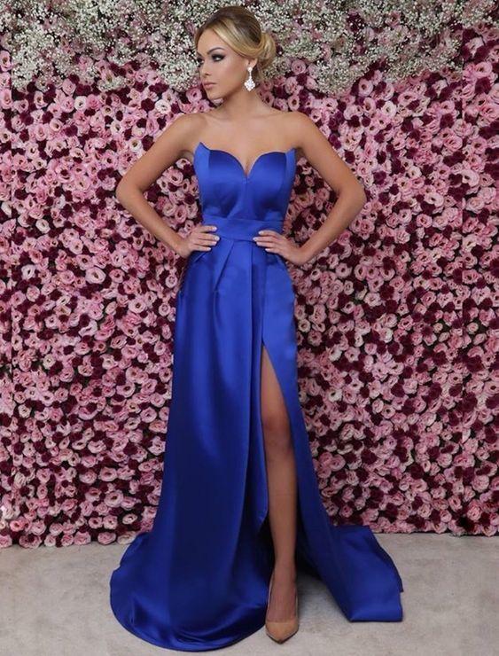 14a459b5ecd Royal Blue Strapless Sweetheart Long Prom Dress