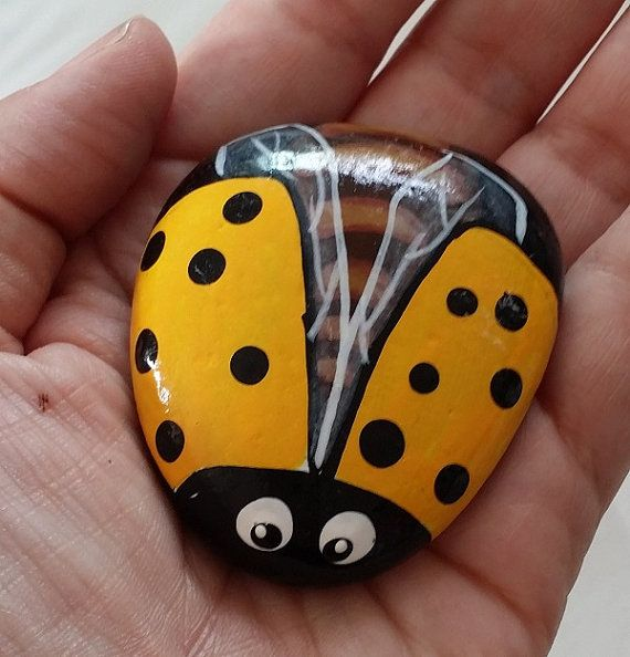 This is a hand painted yellow lady bug rock. I choose rocks by hand from the Santa Cruz mountains in California. Each one is hand painted and no two