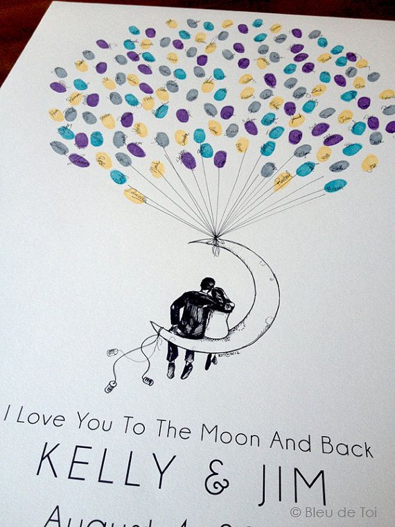 Moon Balloon Couple The original guestbook thumbprint par bleudetoi, $35.00