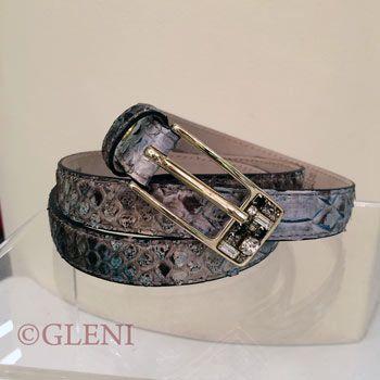 Cintura in pitone con fibbia rettangolare dorata C2000
