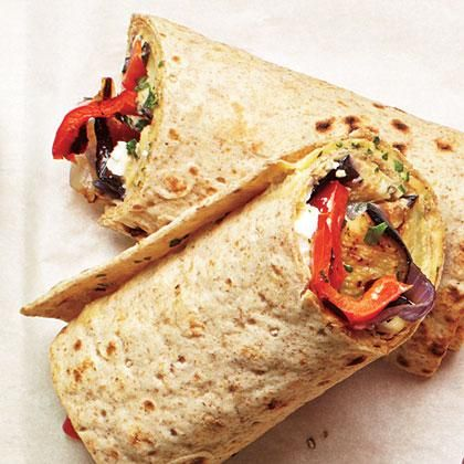 Grilled Veggie and Hummus Wraps, just one of our choices on our Vegetarian Weeknight Meal Planner   CookingLight.com