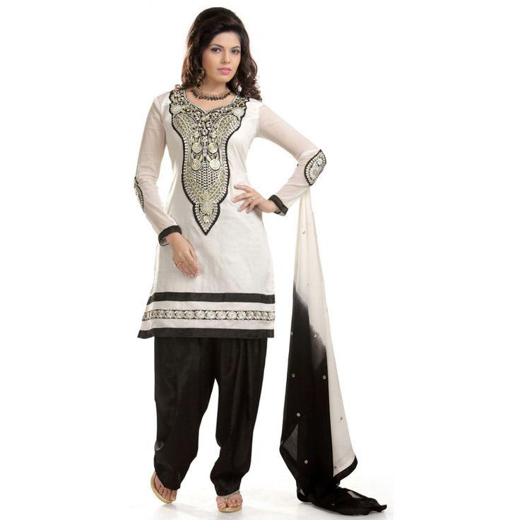 Fashionx White & Black Chanderi Cotton Embroidery work Dress Material