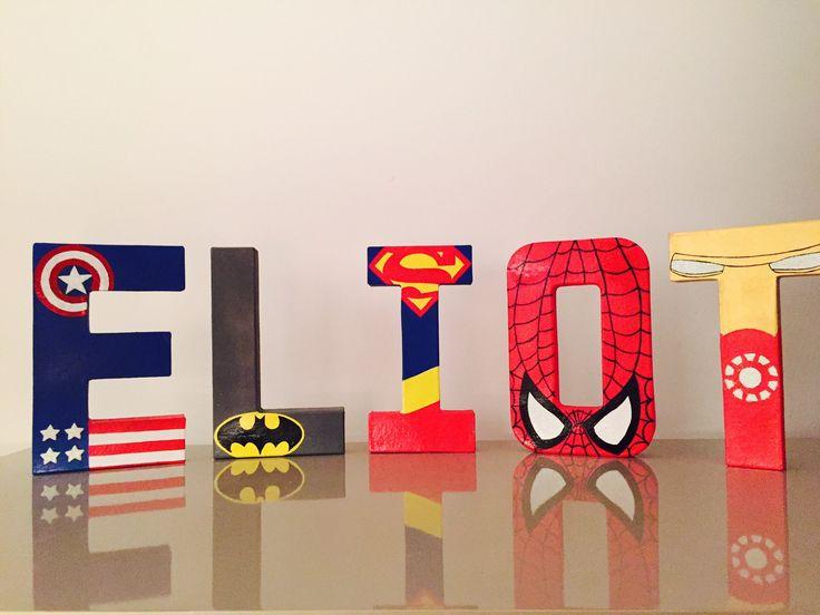 Lettres décoratives personnalisées thème super-héros - 20 cm : Accessoires de maison par emmaetmoi
