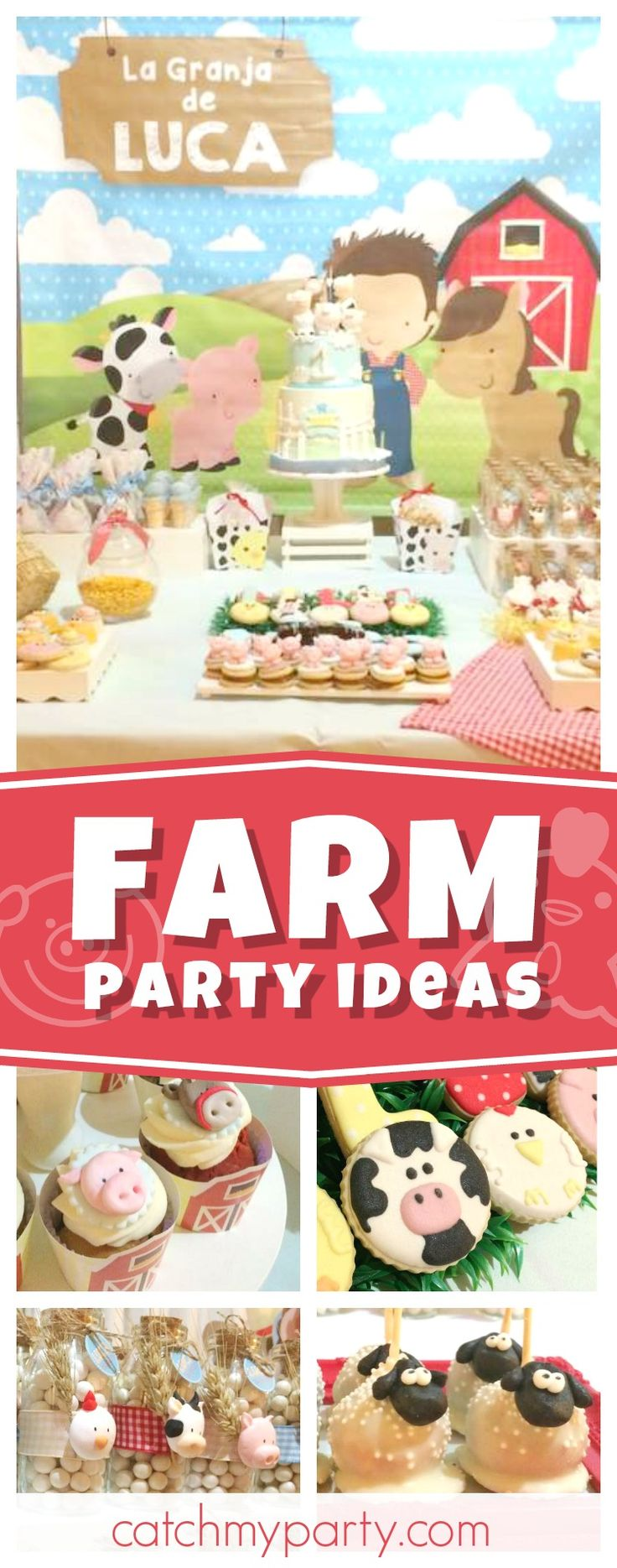 Check out this fun Farm 1st birthday party. The farm animal sweets are adorable!! See more party ideas and share yours at CatchMyParty.com