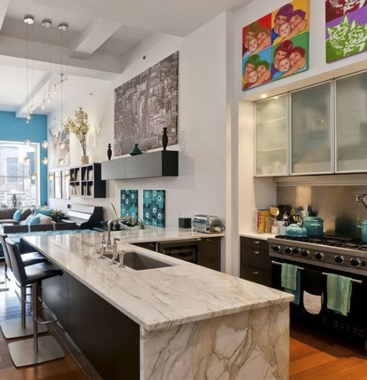 New Yok Loft Apartment Colorful Fresh Kitchen Interior Design  167 best New York Style images on Pinterest   Abstract art  Brown  . New York Loft Kitchen Design. Home Design Ideas