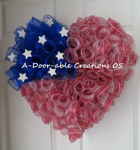 Patriotic Heart Wreath, red white and blue! I want to make this to hang on the door of my classroom!