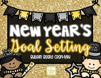 Looking to make a NEW YEAR change to your bulletin board? Here is an ADORABLE New Year Goal Setting bulletin board craft-ivity, surely to get your students reflecting on the New Year! Your students will create their face using construction paper, complete with party hat & blow horn!
