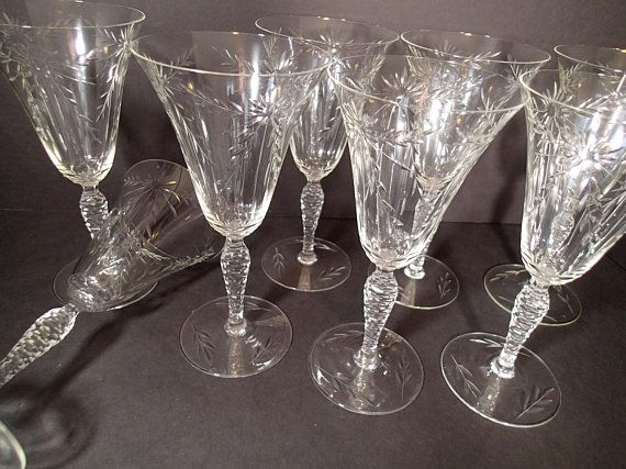 cf096bc9e8e3 Seneca Glass Cut Crystal Vintage Stemware Water goblets