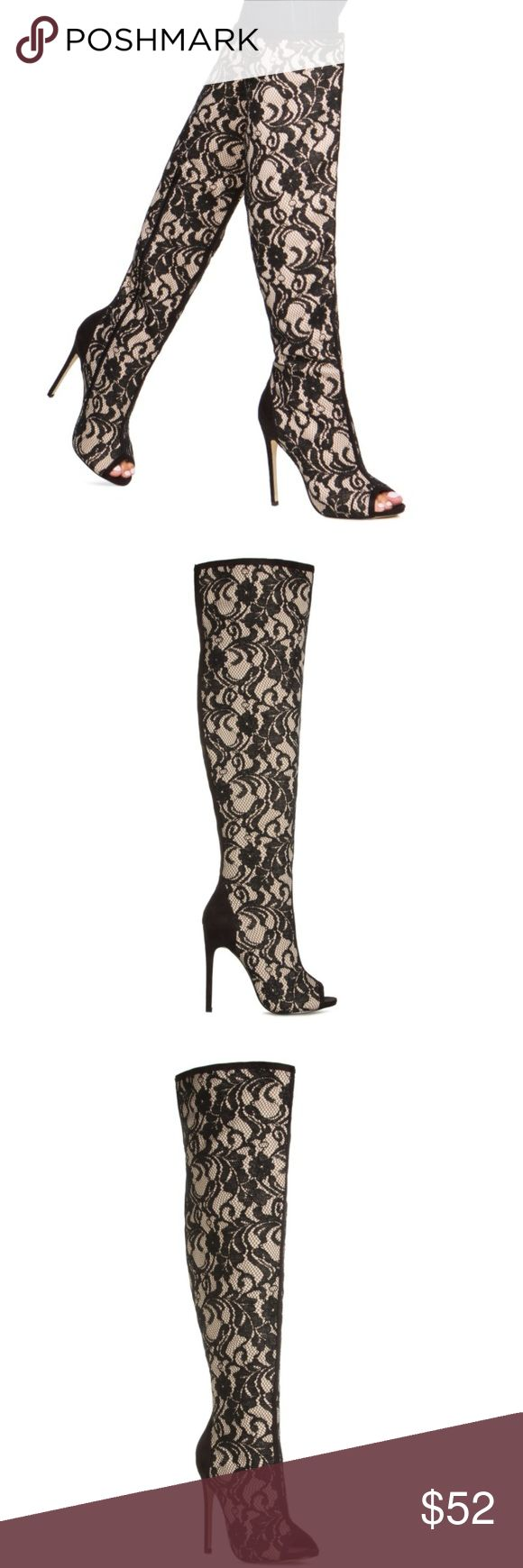 Thigh High Black White Lace Boots Peep Toe Size 7 Gorgeous New Without Box Never Worn Madison By ShoeDazzle Black And White Lace Thigh High Boots. Stiletto Heel. Size 7. Peep Toe Front. Shoe Dazzle Shoes Over the Knee Boots