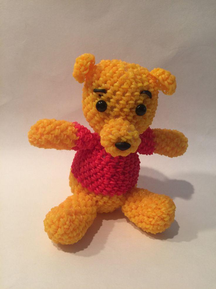 Disney's Winnie the Pooh Rubber Band Figure, Rainbow Loom Loomigurumi, Rainbow Loom Disney by BBLNCreations on Etsy  Loomigurumi Amigurumi Rainbow Loom