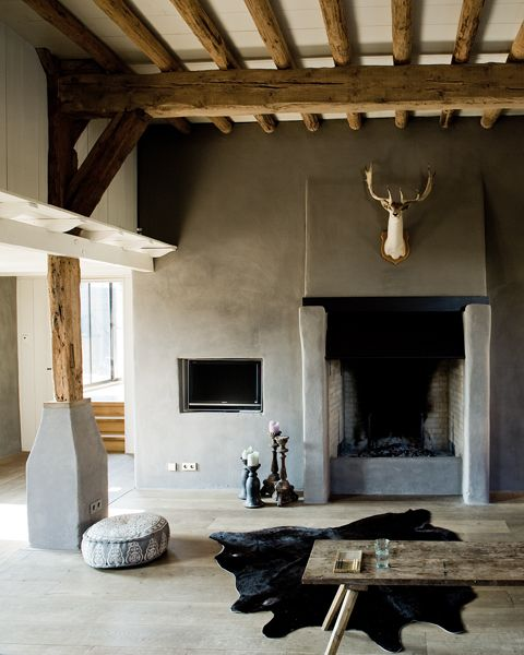Jeroen van der Spek. Interiors. Fire Place. Stags Head. Taxidermy. Grey. www.origin-of-style.com