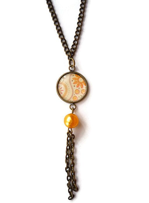 Orange tendril pattern necklace with pearl by treasurecreator, $17.00