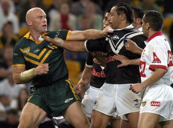 Australia v New Zealand rugby...The battle between the International Rugby Board's top two squads stems from the first Rugby World Cup in 1987 and remains the undisputed rivalry in world rugby. In this photo, Australia's Ben Kennedy, left, fights with New Zealand's Nigel Vagana during a Rugby League test match in Brisbane, Australia, on May 5, 2006.