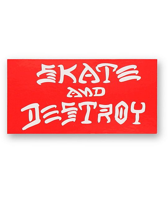 Personalize your things with the iconic look of the Thrasher Skate And Destroy sticker.