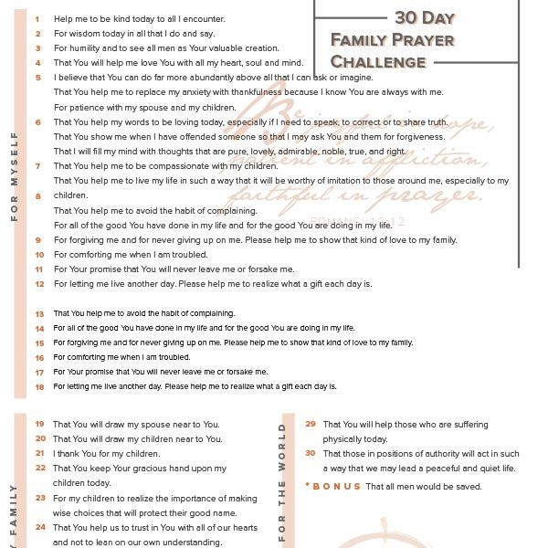 Do you take the time to pray for yourself and your family? Take the 30 Day Family Prayer Challenge today!
