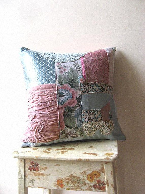 Ruched Velvet Soft Pink and Blue Cushion Cover with Vintage Flowers $85.  I love the color and fabric mishmash.