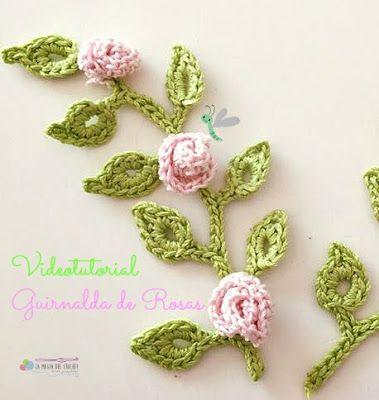 La Magia del Crochet: GUIRNALDA DE ROSAS A CROCHET