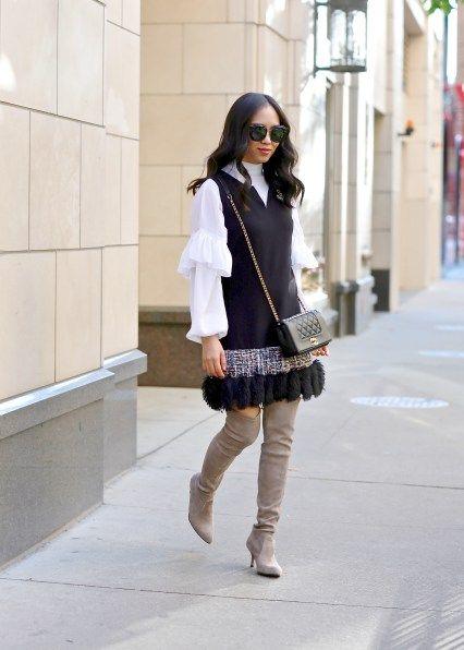868b2d83f Tweed dress, ruffle blouse, stuart weitzman the tiemodel over the knee boots