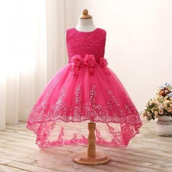 Elegant Sparkle-Hem Wedding Dress in Hot Pink for Girls
