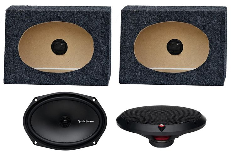 "2) Rockford Fosgate R169X2 6x9"" 130W Car Speakers + 2) Angled 6x9"" Speaker Box. New Rockford Fosgate R169X2 6x9"" 130W 2 Way Car Speakers. 130 Watt Max. 65 Watt RMS. Vacuum Polypropylene cone. Rubber surround."