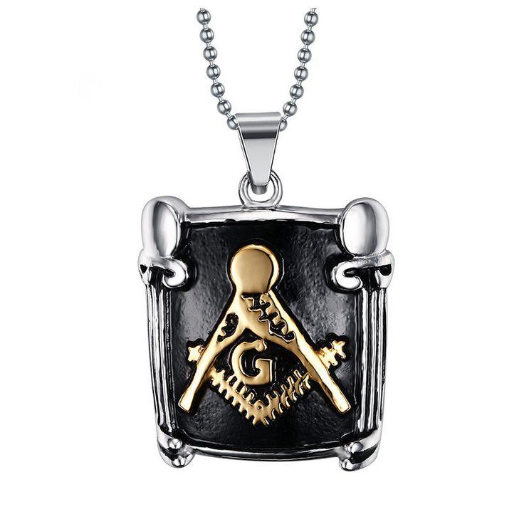 Necklace Gold Coloren Masonic Pendant Men Pendant Stainless Steel Pendant Religion Necklaces & Pendants #Affiliate