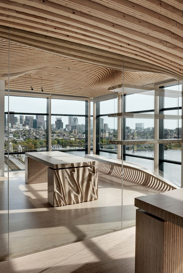 Designing and constructing the wooden interior for the One Main renovation project in Boston, USA is a showcase for an untypical use of Kerto® LVL (laminated veneer lumber). ​Image by dECOi Architects, Director Mark Goulthorpe, Project Architect Raphael Crespin.