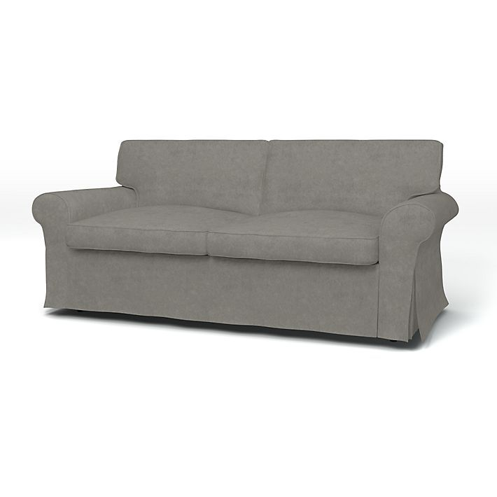 Ektorp, Sofa Covers, 2 Seater Sofa Bed, Regular Fit with piping using the fabric Malmen Velvet Zinc Grey