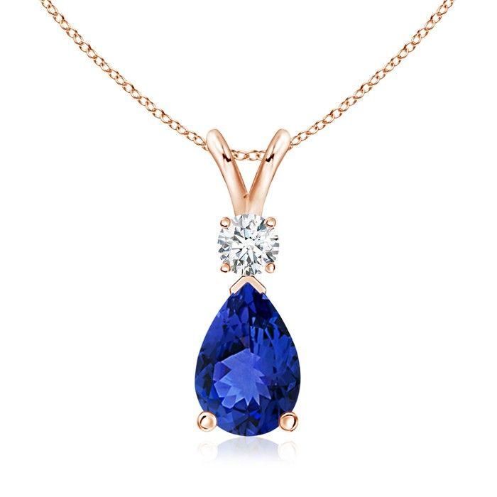 Pear Tanzanite Teardrop Pendant Necklace with Diamond . A pear-shaped blue-purple tanzanite is secured in a prong setting and embellished with an accent diamond on the top.
