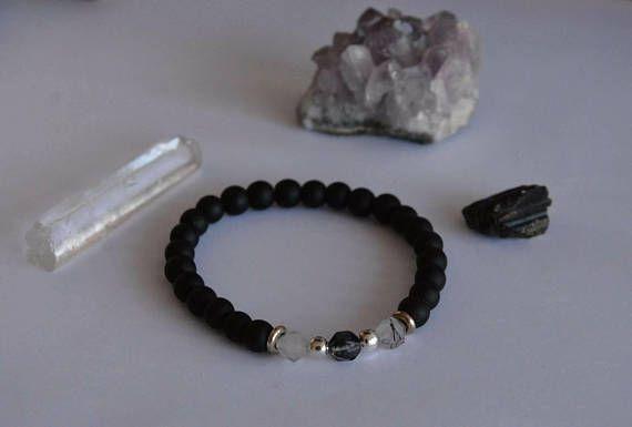 Geometric Smokey quartz and black Onyx silver spacer 6mm