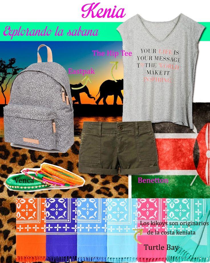 ¿Qué me pongo para visitar Kenia? Prendas frescas y ligeras con un toque deportivo para ser la reina de la sabana. Camiseta con mensaje de The Hip Tee; shorts kakis de Benetton; mochila de Eastpack; pulseras étnicas de Venca; kikoys en varios colores de Turtle Bay.