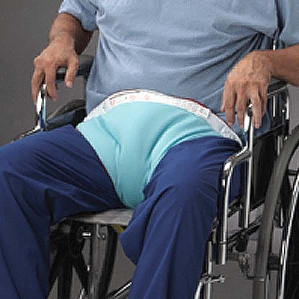 Foampadded pelvic restraint helps prevent forward sliding