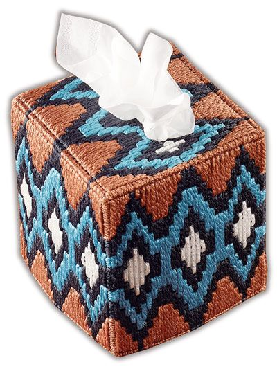 Deep metallic tones of the Southwest accentuate this timeless design. This e-pattern was originally published in Native American Tissue Covers. Size: Loosely fits boutique-style tissue box. Made with metallic craft cord, plastic canvas yarn and 7-count plastic canvas.
