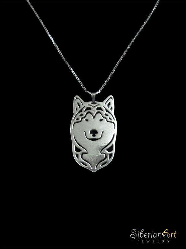 Alaskan Malamute sterling silver pendant by SiberianArtJewelry