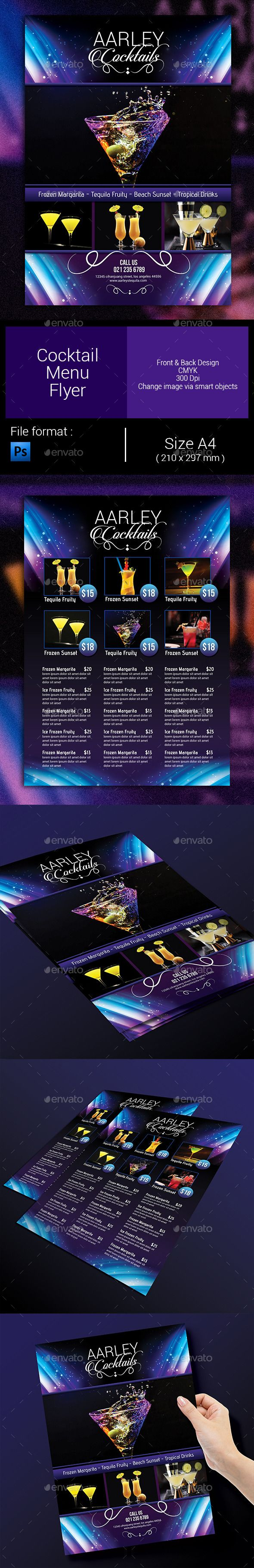 Cocktail Menu Flyer Template #design Download: http://graphicriver.net/item/cocktail-menu-flyer/9597041?ref=ksioks