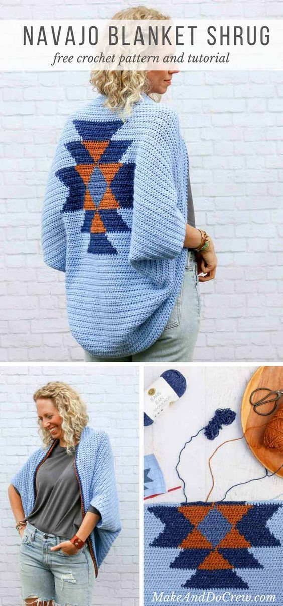 Tribal style! This free crochet shrug pattern with an Navajo crochet design looks like tapestry crochet, but it's not! Free boho crochet pattern using Lion Brand Jeans yarn in Classic, Faded, Topstitch and Stonewash.