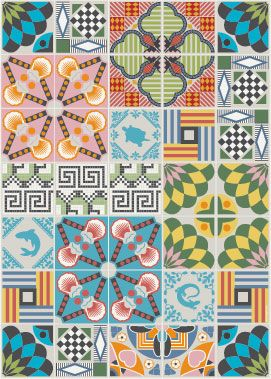 Tiles Wallpaper-Posters by Hanna Werning: Inspired by traditional Italian Tiles.