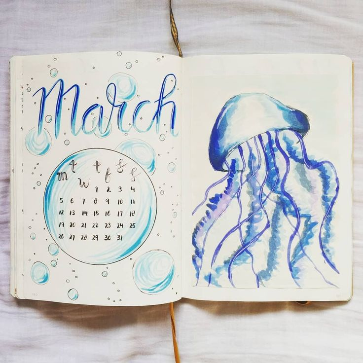 @bujo.by.marieke Bullet journal march cover page cover spread water colour jellyfish