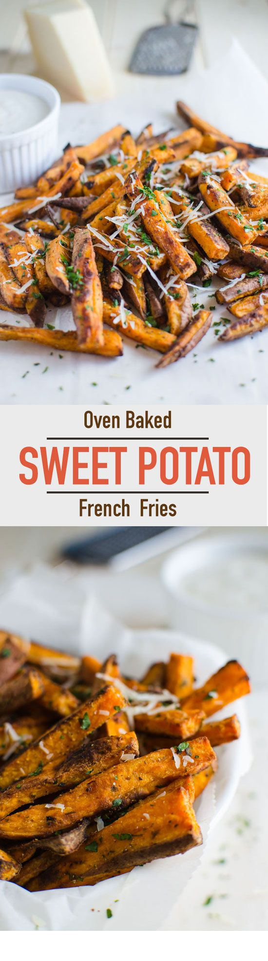 Healthy sweet potato fries that are baked in oven. Less in fat and loaded with complex carbohydrates, dietary fibers and vitamin A