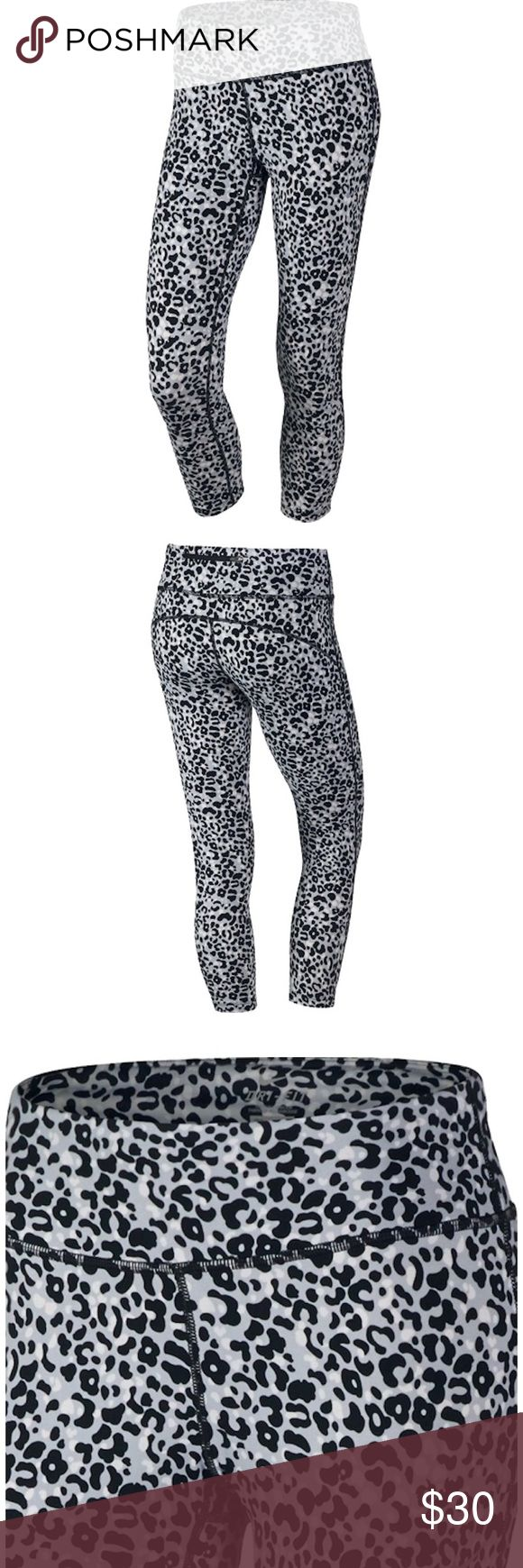 "Nike Leopard Leggings Super cute Nike leggings with leopard print, size small. Back zipper and tie waist. Cropped length. Material looks slightly ""fuzzy"" from normal wash wear. Nike Pants Leggings"