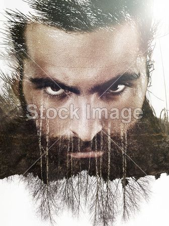 Double exposure portrait of a bearded guy