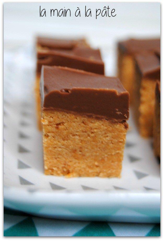 carrés gourmands au beurre de cacahuètes et chocolat